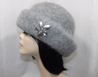 Gray Mohair/Wool Boiled Hat & Vintage Brooch, Hand Felted Boiled Wool Hat