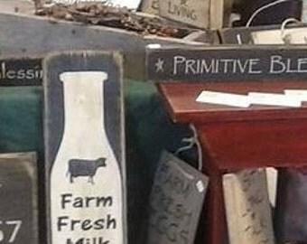 Farm fresh milk vertical distressed sign