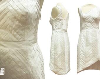 YOSEGI asymetrical patchwork Silk offwhite short weddingdress