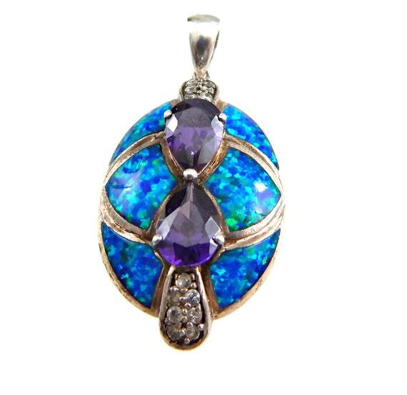 sterling opal pendant purple amethyst gemstone by