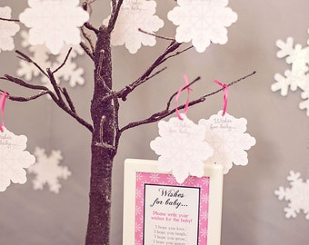 Winter Wonderland Penguin Baby Shower (Choose Pink, Blue or Gray) - Wishes for Baby Snowflakes - by Celebration Lane