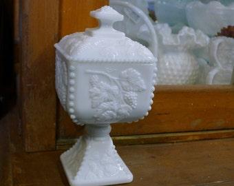 Square milk glass covered pedestal wedding box