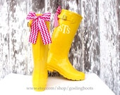 Personalized, Rain Boots, Yellow, Chevron, Bows, Hot Pink