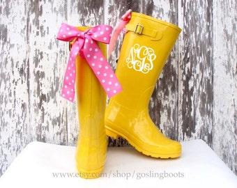 Polka dot rain boots   Etsy