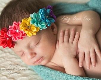 Baby Headband- Baby Headbands- Newborn Headband -Girls Headband-baby bows-Halo flower Headband-Flower girl-Wedding-Rainbow-Baby Girl Clothes