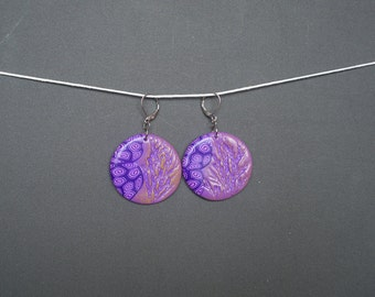 Polymer clay earrings Round earrings Purple earrings Dangle earrings Floral earrings Spring earrings Pastel earrings Boho earrings Casual