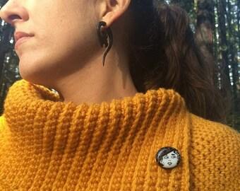 Cowl Neck Poncho Sweater w/Button Detail