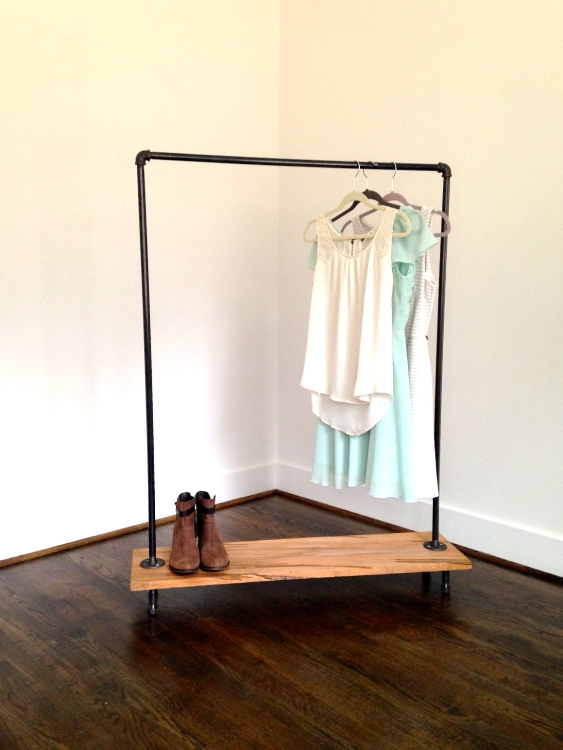 Logan square garment rack reclaimed wood pipe by