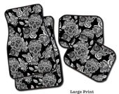 Sugar Skull Car Mats, Your Choice - 2 Front, 2 Rear, or a Full Set of 4 Floor Mats for your car!  Dia de los Muertos Car Mats.