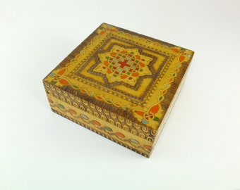 Vintage Wooden Pyrography Box, Hand Carved Painted Colorful Box Wood burning Tinket Box Celtic Box Celtic Knot