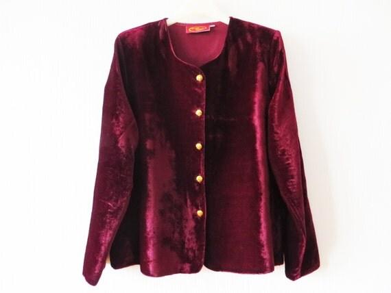 Marsala velvet blouse wine red burgundy long sleeve gold tone for Red velvet button up shirt