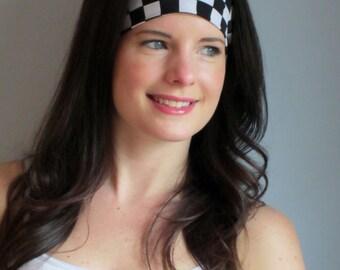 Black and White Check Headband,Check Headband,Motocross Headband,Racing Headband, Speedway Headband,Nascar Checkered Flag, Indy 500 Headband