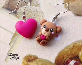 Teddy bear with heart, earrings in polymer clay