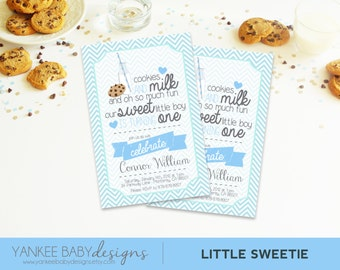 Little Sweetie - Blue - Invitation - Cookies and Milk