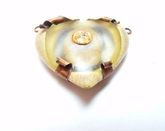 Copper Bullet Heart - Carved Bamboo Heart With Copper Bullet, Focal Pendant