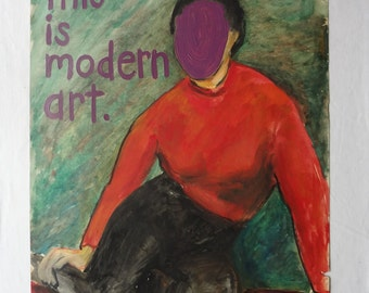 this is modern art. Original by ME sameK; Mixed Media; Oil Pastel & Paint; FREE SHIPPING