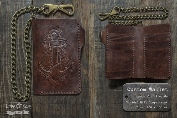 Handmade Leather Wallet with your image or от DukeAndSonsLea