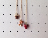 daintyme Petite Enamel Acorn / Mushroom / Strawberry Pendant Necklace