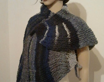 Wider scarf or Cape in shades of blue