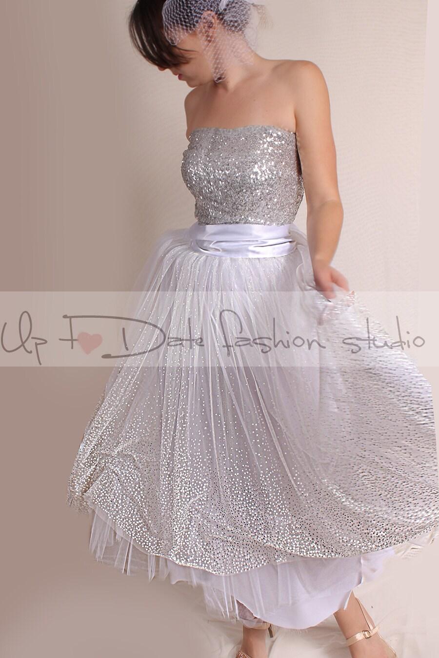 Vintage inspired wedding dress 50s style tutu tulle tea for 50s inspired wedding dress