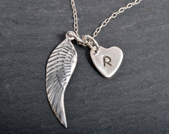 Sterling Silver angel wing necklace with personalised heart charm 925 chain