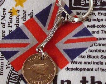 1945 British Farthing Coin Keyring Key Chain Fob King George VI Wren