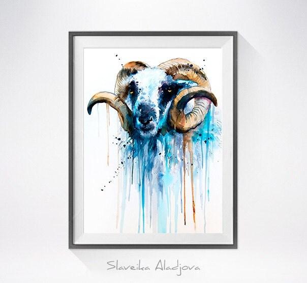 Sheep Wall Art Home Decor ~ Sheep watercolor painting print by slaveika aladjova art