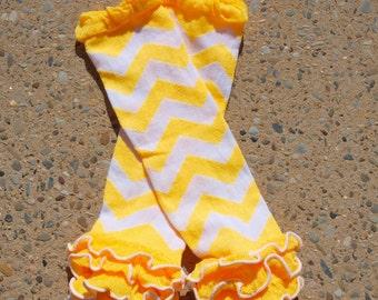 Leg Warmers -Yellow & White Chevron with Ruffle