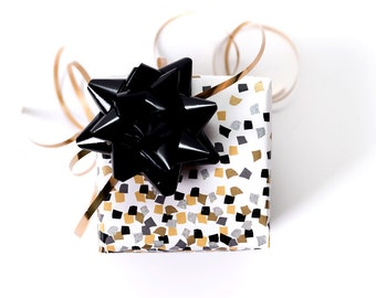 Gift Wrap Paper - 5 ft - with Metallic Gold & Black Confetti for Men and Women, All Occasion Wrapping Paper - Wedding and Birthday Paper