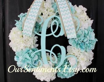 Floral Door Wreath- Summer wreath- Winter Wreath Blue Hydrangea Wreath - Hydrangea Wreath - Door wreaths - Summer Wreaths for door - Wreaths
