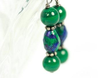 Natural Malachite Azurite earrings, Malachite earrings, Green earrings, Natural Gemstone earrings, handmade earrings