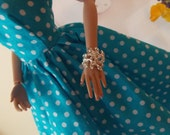 Jewelry, Simply Elegant, Rhinestone Bracelet in Silver or Gold Tone. 1:6 Scale  Fashion Doll Accessories (Dress & FR doll not included)