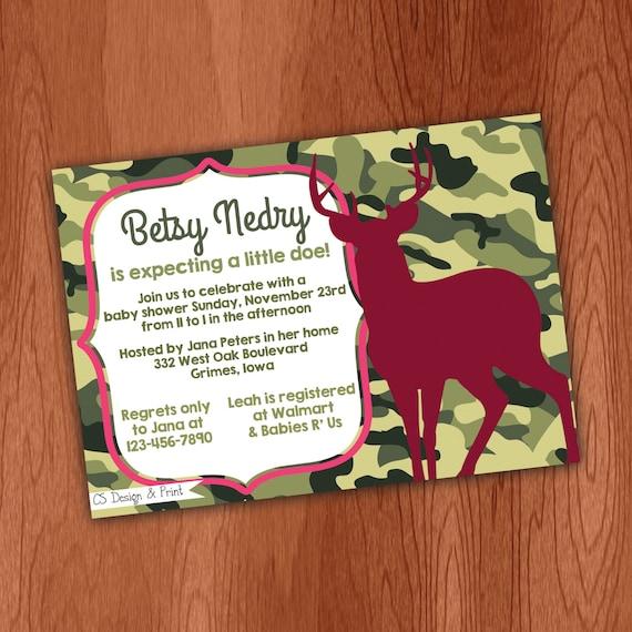 pink camo buck hunting baby shower invitation printable invitation