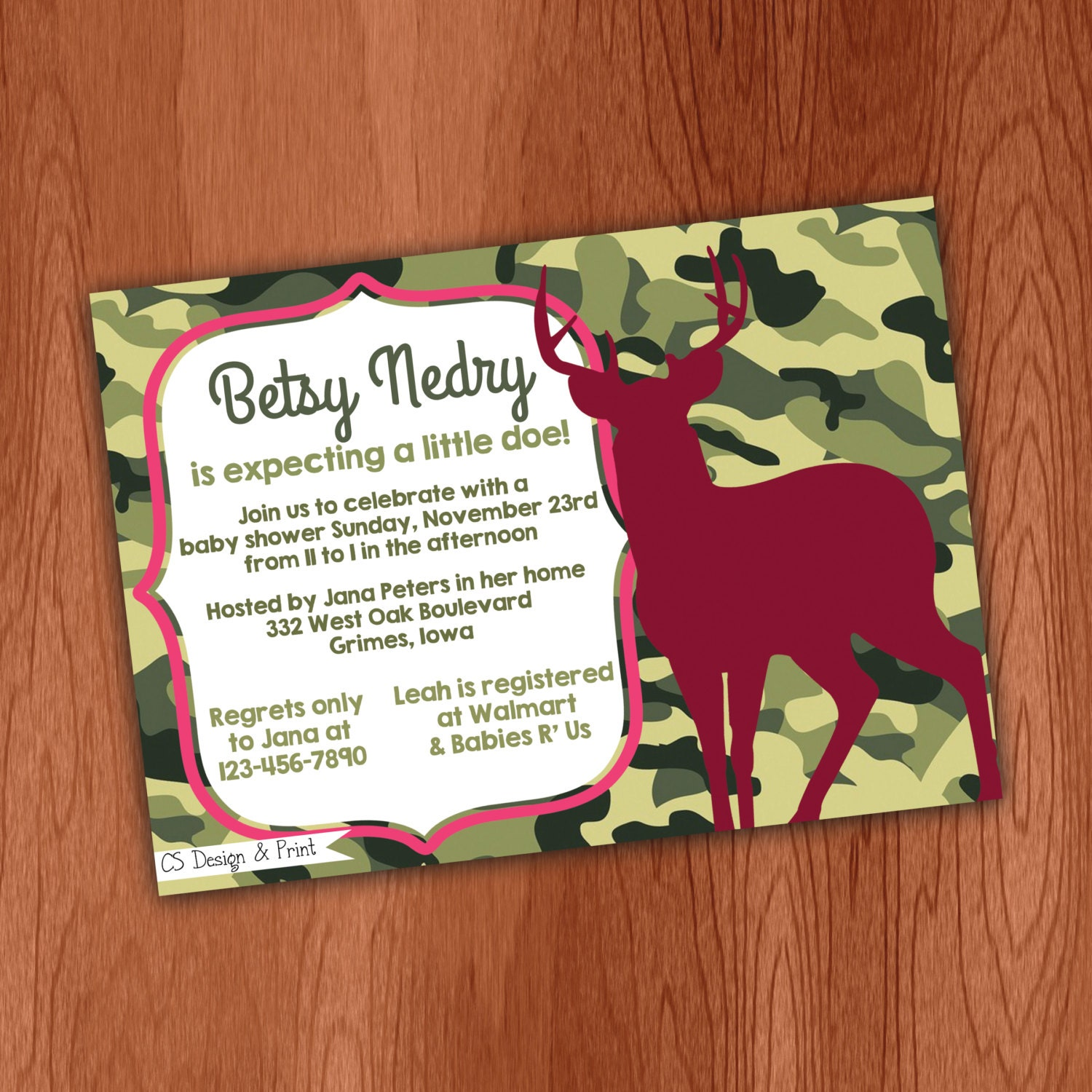 pink camo buck hunting baby shower invitation printable