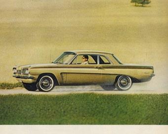 1962 Pontiac Tempest Car Photo Ad, Vintage Advertising Wall Art Decor Print