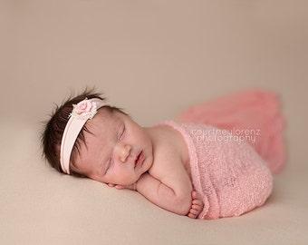 Flower Headband, Pink Headband, Pink Flower, Jersey Headband, Jersey Newborn Headband, Newborn Headband, Photo Prop, Photography Prop