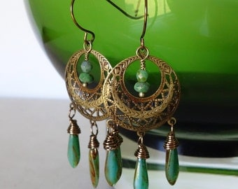 Boho gypsy hoop earrings w/ czech glass/ Antique brass Moroccan turquoise chandelier hoop earring/ Bohemian gypsy nickel free earwires