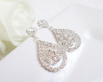 CLEARANCE 50% Off Large Rhinestone Statement Bridal Earrings Rhinestone Floral Teardrop Bridal Earrings Statement Earrings Bridal Jewelry