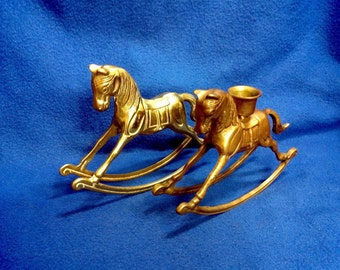 Solid Brass Rocking Horse and Candle Holder