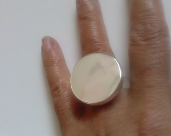 Large  Mother of  Pearl  Silver Ring  handmade with  Round  White Shell and Fine Silver use as statement or cocktail ring