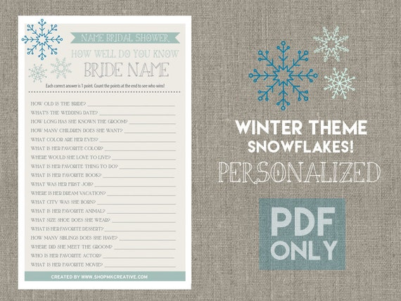 PERSONALIZED Snowflake Themed Bridal Shower Game By