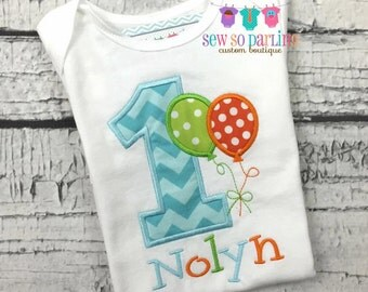 1st Birthday Boy Shirt - Balloon Birthday Shirt - Balloon Birthday Outfit - Birthday shirt