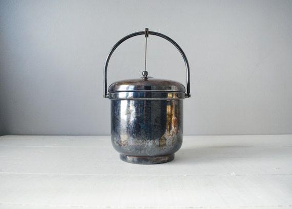 Silver Ice Bucket - Vintage Ice Bucket - Sheffield Silver - Mid Century Decor - Silverplate Ice Bucket - Ice Bucket With Lid - Mid Century