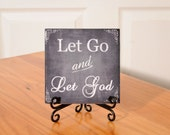 Let Go and Let God tile with stand