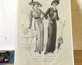 1913 Fashion Plate McCall's Magazine / Sewing Instructions Shirt Waist / When You Go A-Visiting Patterns / Vintage Sewing Patterns
