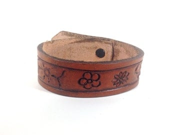 Hand Tooled Leather Bracelet Cuff - Women's