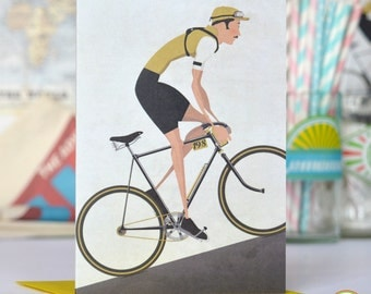 Vintage Style Tour De France Cyclist Bicycle Bike Greeting or Birthday Card Pack