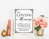 8 x 10 In Loving Memory Table Sign - Family Memorial Wedding Reception Signage - PRINTED