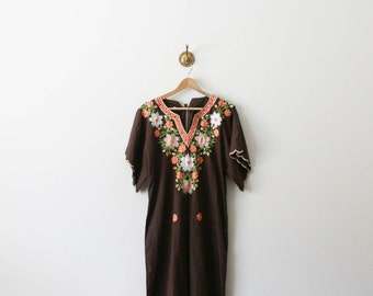 vintage 70s embroidered floral brown mumu