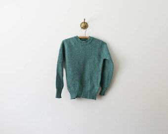 vintage 70s shetland wool turquoise sweater